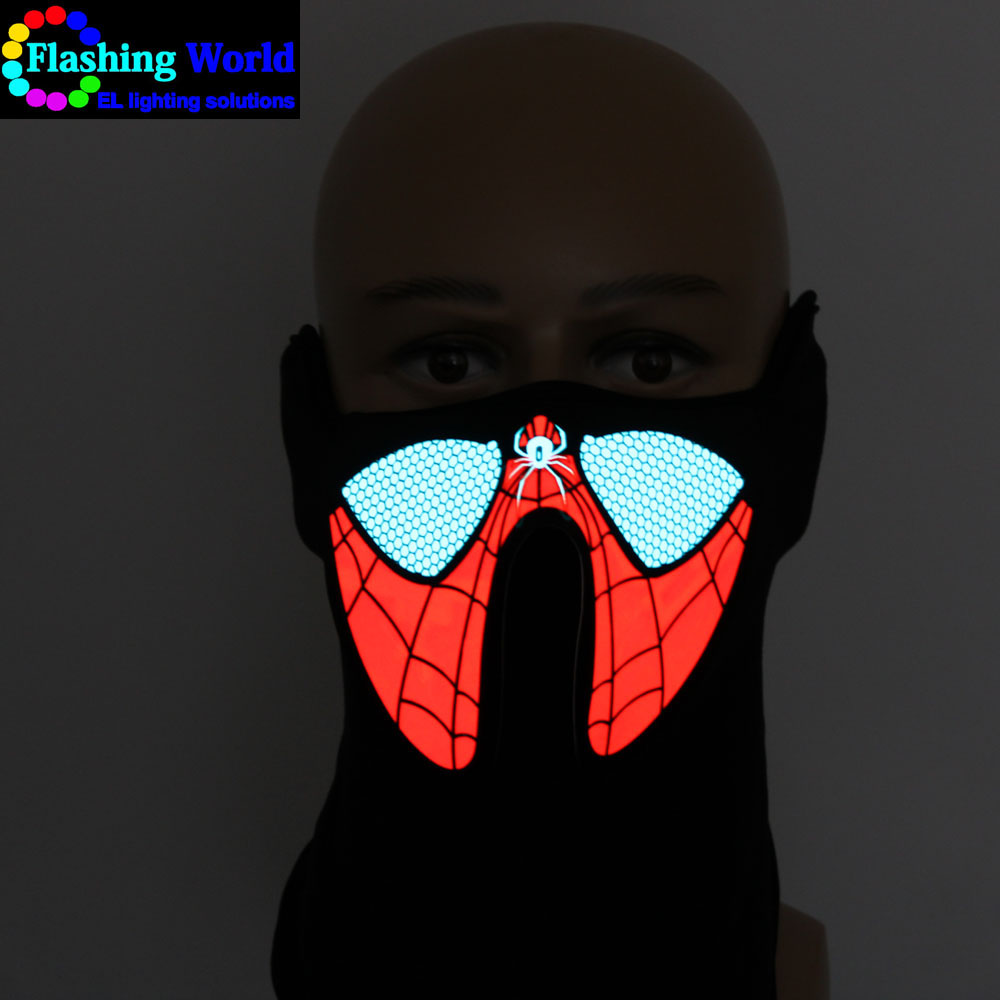 Hot selling Halloween Rave Music LED Party Mask Festival Costumes Light Up Mask Sound Activated