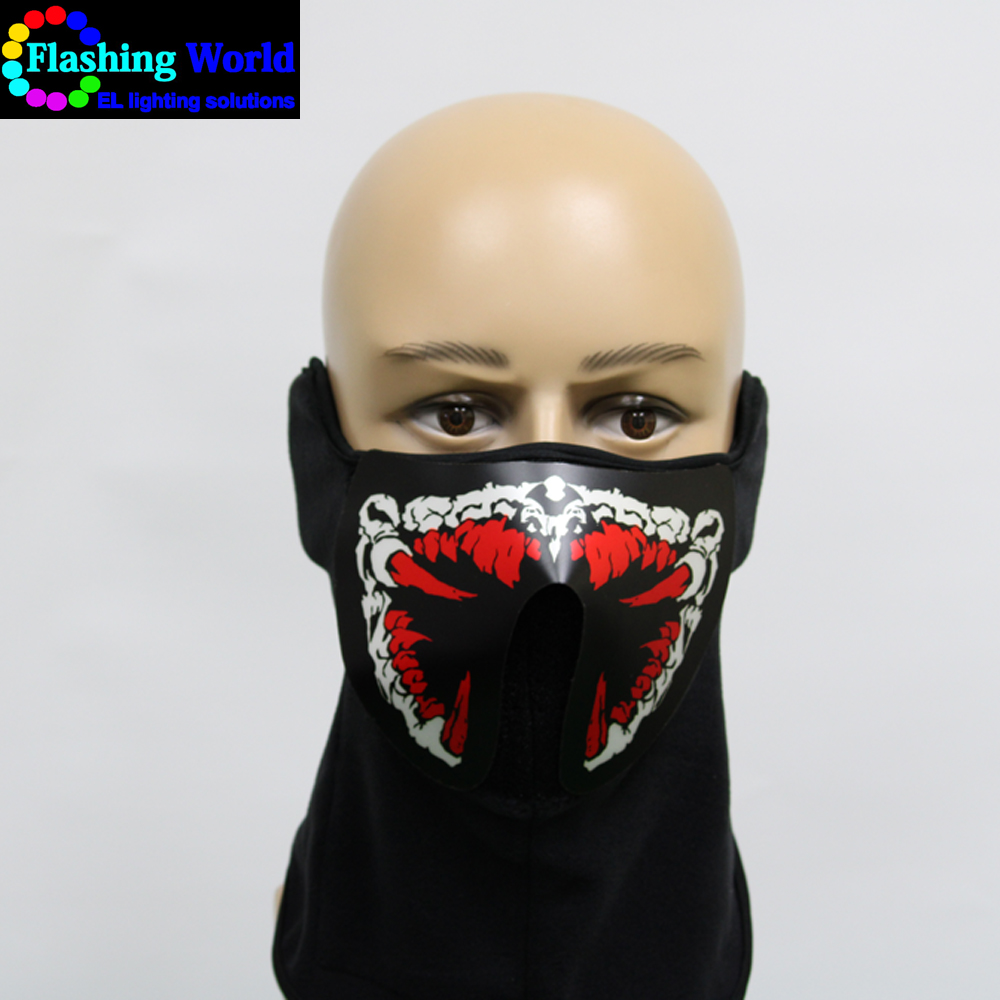 Hot selling Light Up Halloween Rave Mask LED Flashing Luminous Party Cool Mask Sound Active